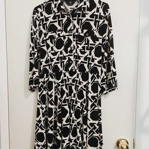 NY Collection black & white abstract dress